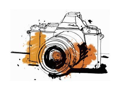 Close Up Drawing of Slr Camera