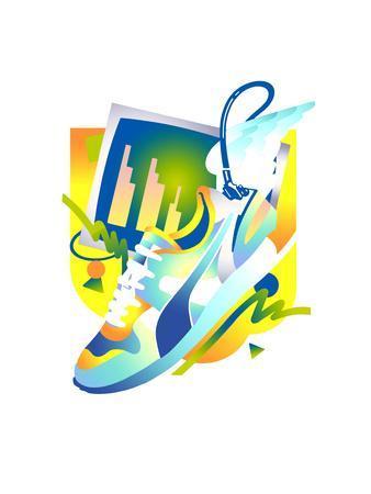 Sports Shoe and Bar Chart