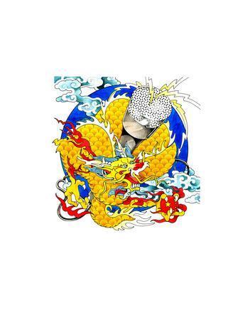 Chinese Dragon Above Globe