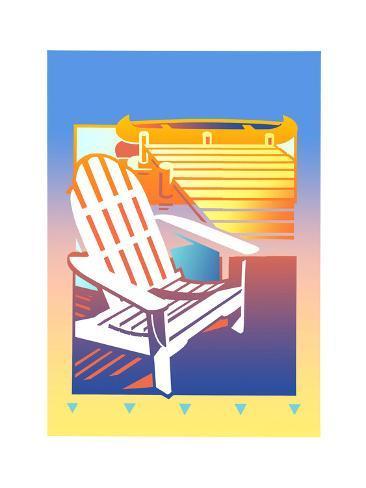 Empty Adirondack Chair By Jetty