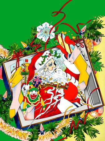 Santa Claus Holding Various Gifts in Old Tv
