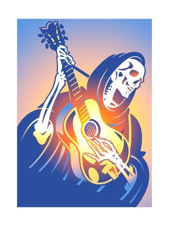 Skeleton Playing Guitar