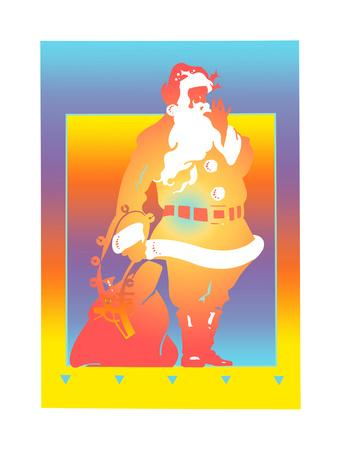 Santa Claus with Sack on Colored Background