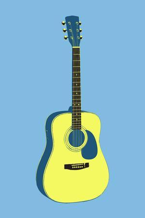 Acoustic Guitar Blue Music Poster Print