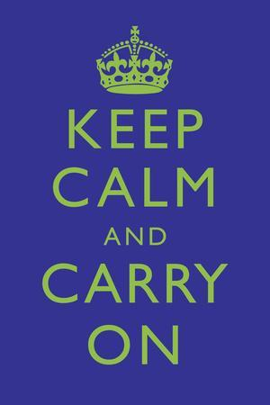 Keep Calm and Carry On Motivational Deep Blue Art Print Poster