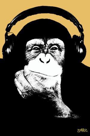 Headphone Chimp - Gold