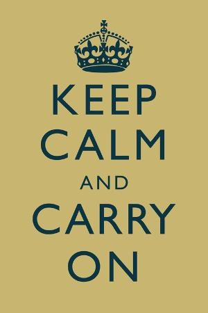 Keep Calm and Carry On Motivational Muted Yellow Art Print Poster