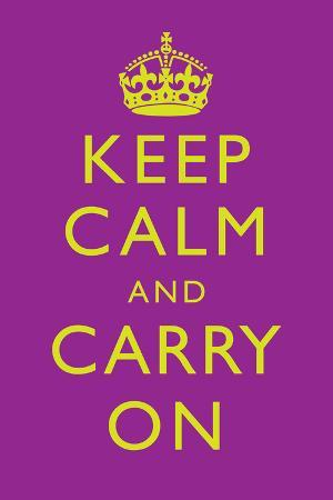 Keep Calm and Carry On Motivational Purple Art Print Poster