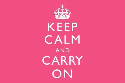 Keep Calm and Carry On (Motivational, Pink) Art Poster Print