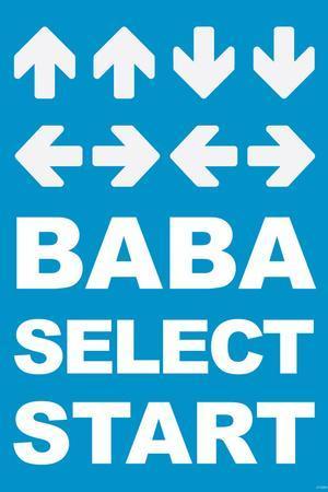 Konami Code (Contra, Blue) Video Game Poster Print