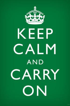 Keep Calm and Carry On (Motivational, Faded Green) Art Poster Print