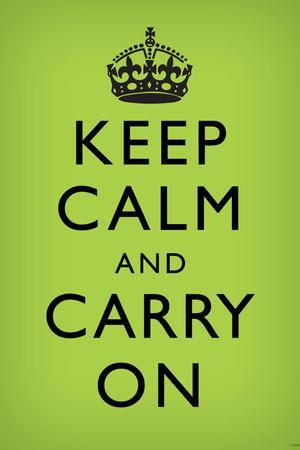 Keep Calm and Carry On (Motivational, Faded Medium Green) Art Poster Print