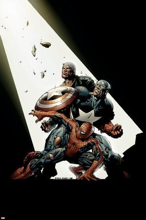 The New Avengers No.2 Cover: Spider-Man, Captain America, Luke Cage