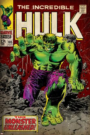 Marvel Comics Retro: The Incredible Hulk Comic Book Cover No.105 (aged)