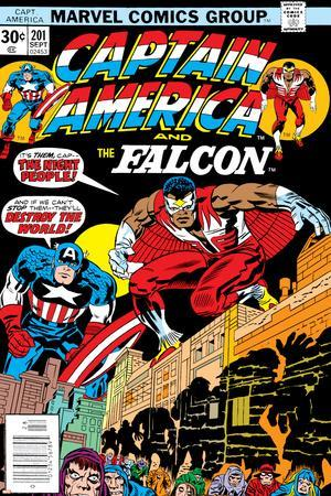 Captain America And The Falcon No.201 Cover: Captain America and Falcon Crouching