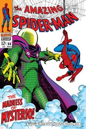 The Amazing Spider-Man No.66 Cover: Mysterio and Spider-Man Fighting