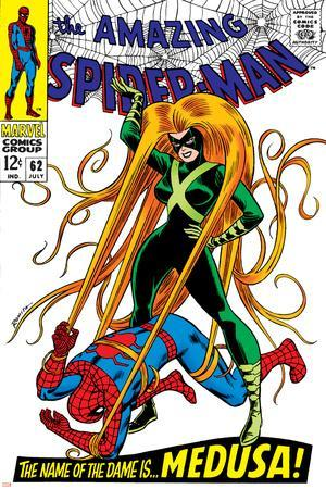 The Amazing Spider-Man No.62 Cover: Spider-Man and Medusa Fighting