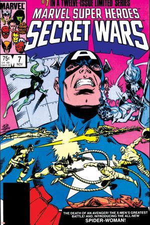 Secret Wars No.7 Cover: Captain America, Spider Woman, Doctor Octopus and Wolverine
