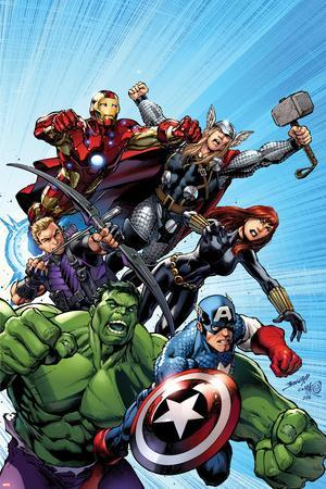 Avengers Assemble No.1 Cover: Captain America, Hulk, Black Widow, Hawkeye, Thor, and Iron Man