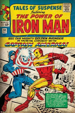 Marvel Comics Retro: The Invincible Iron Man Comic Book Cover No.58, Facing Captain America (aged)