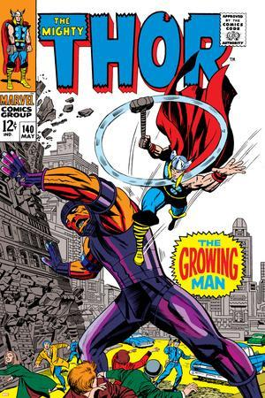 Thor No.140 Cover: Thor and Growing Man Fighting