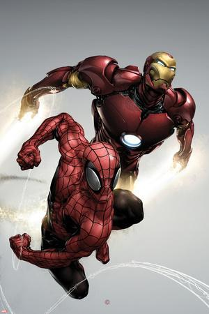 Carnage No.1 Cover: Spider-Man and Iron Man Flying