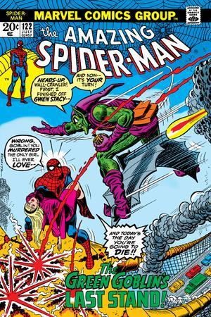 Amazing Spider-Man No.122 Cover: Spider-Man, Gwen Stacy, and Green Goblin Flying