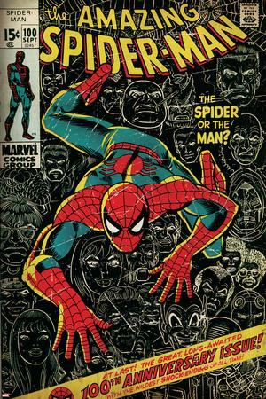 Marvel Comics Retro: The Amazing Spider-Man Comic Book Cover No.100, 100th Anniversary Issue (aged)