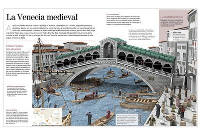 Infografía Sobre La Ciudad De Venecia En La Edad Media, Cuando Era Una Gran Potencia Comercial