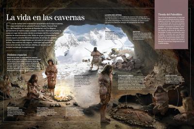 Infografía Sobre Las Cuevas De Neandertales Y Hombres De Cromagnon Durante El Paleolítico