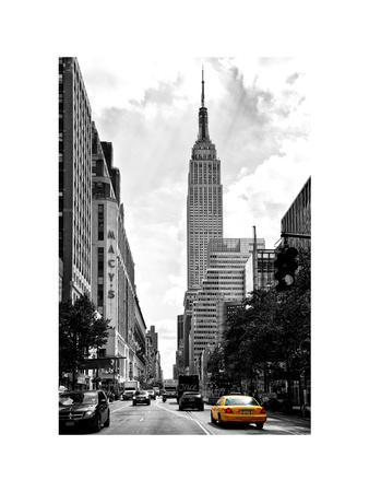 Urban Scene, Yellow Cab, Empire State Buildings and Macy's Views, Midtown Manhattan, NYC