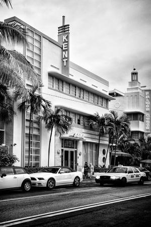 Art Deco Architecture with Yellow Cab - Miami Beach - Florida
