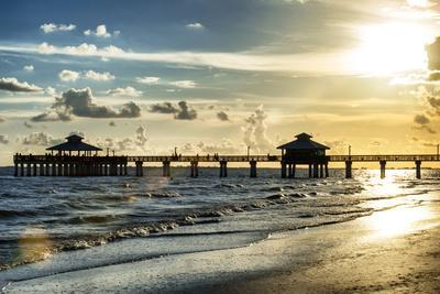 Fishing Pier Fort Myers Beach at Sunset - Florida