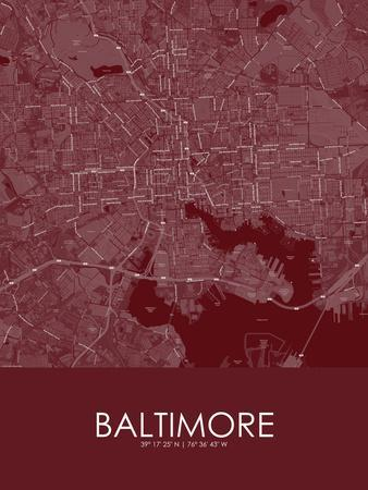 Baltimore, United States of America Red Map