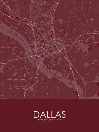 Dallas, United States of America Red Map