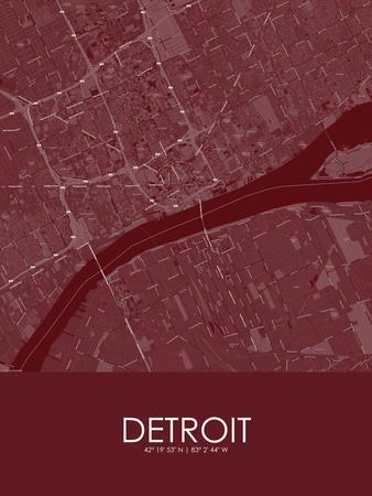 Detroit, United States of America Red Map