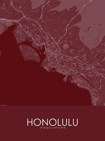 Honolulu, United States of America Red Map