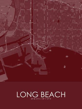 Long Beach, United States of America Red Map