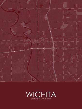 Wichita, United States of America Red Map