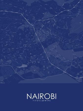 Nairobi, Kenya Blue Map