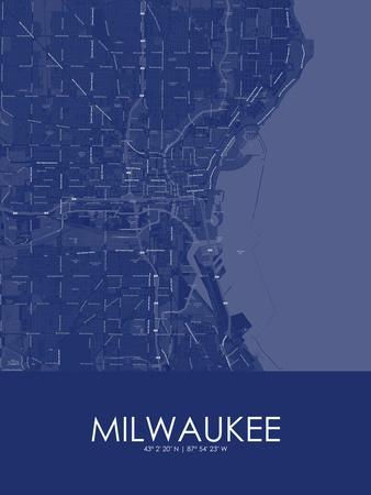 Milwaukee, United States of America Blue Map