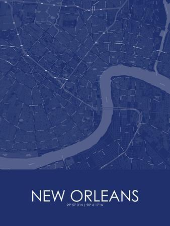 New Orleans, United States of America Blue Map