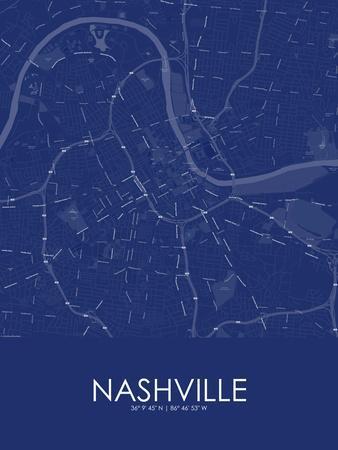 Nashville, United States of America Blue Map