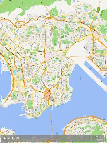 Region Of China Map.Kowloon Hong Kong Special Administrative Region Of China Map Print