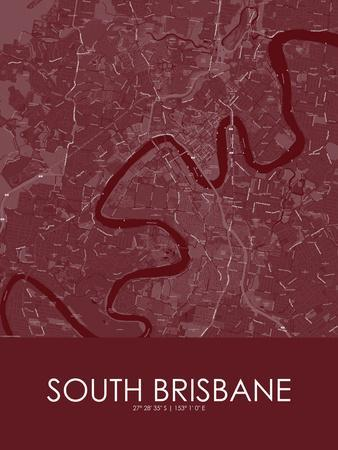 South Brisbane, Australia Red Map