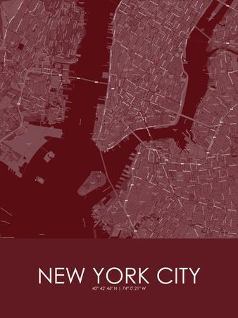 New York City, United States of America Red Map