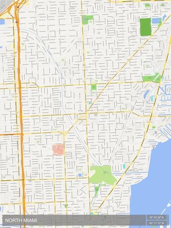 North Miami United States Of America Map Prints At Allposterscom - Miami-us-map
