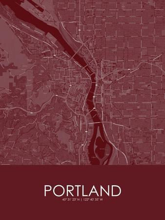 Portland, United States of America Red Map