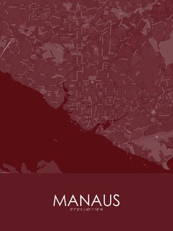 Manaus, Brazil Red Map