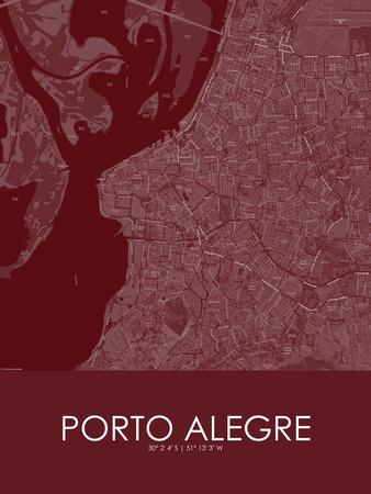Porto Alegre, Brazil Red Map